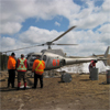 Refueling helicopter at the Detour Lake Mine, Ontario, Canada